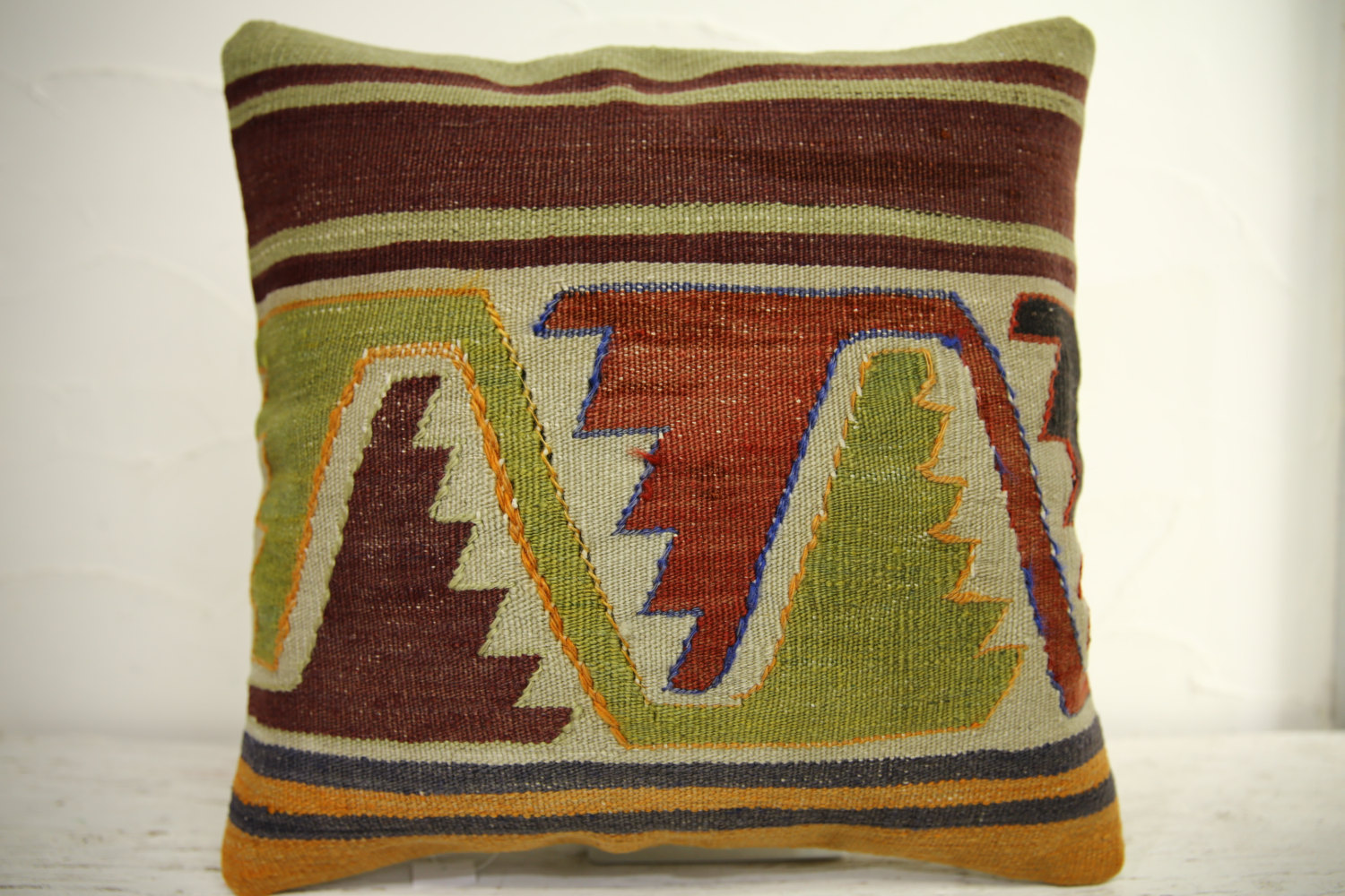 Kilim Pillows | 16x16 | Turkish pillows | 1187 | Ethnic Pillow , Kelim cushion