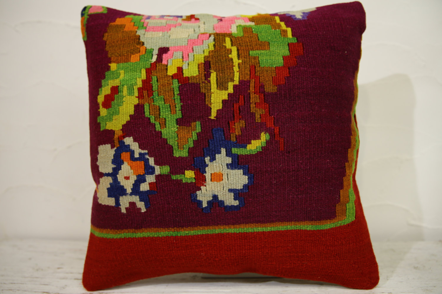Kilim Pillows | 16x16 | Turkish pillows | 1131 | Ethnic Pillow , Kelim cushion