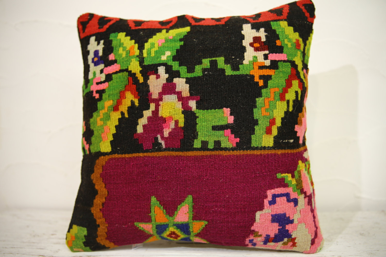 Kilim Pillows | 16x16 | Turkish pillows | 1134 | Ethnic Pillow , Kelim cushion