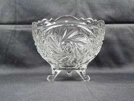 Vintage EAPG Pressed Glass 3 Footed Bowl Pinwheel Design w/ Etched Star ... - $12.95