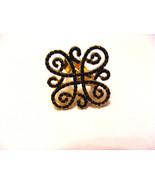 GOLDTONE DOUBLE EIGHT FILIGREE DESIGN WITH TINY BLACK RHINESTONE SIZE 7 ... - $7.69