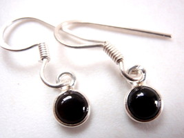Very Tiny Black Onyx Round 925 Sterling Silver Dangle Earrings New sphere - $10.12