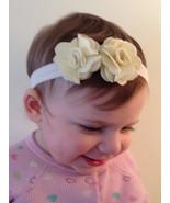 Silky Cream Foldover Elastic Headband w Cream Felt Flowers Infant Toddle... - $8.00