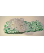 Pale Green Crocheted Headband with Delicate White Rosettes Pearls Headba... - $10.00