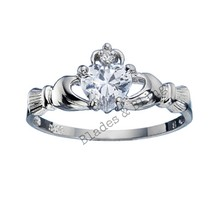 Sterling Silver Claddagh ring size 12 CZ Heart Cut Crown Clear Irish New... - $10.88
