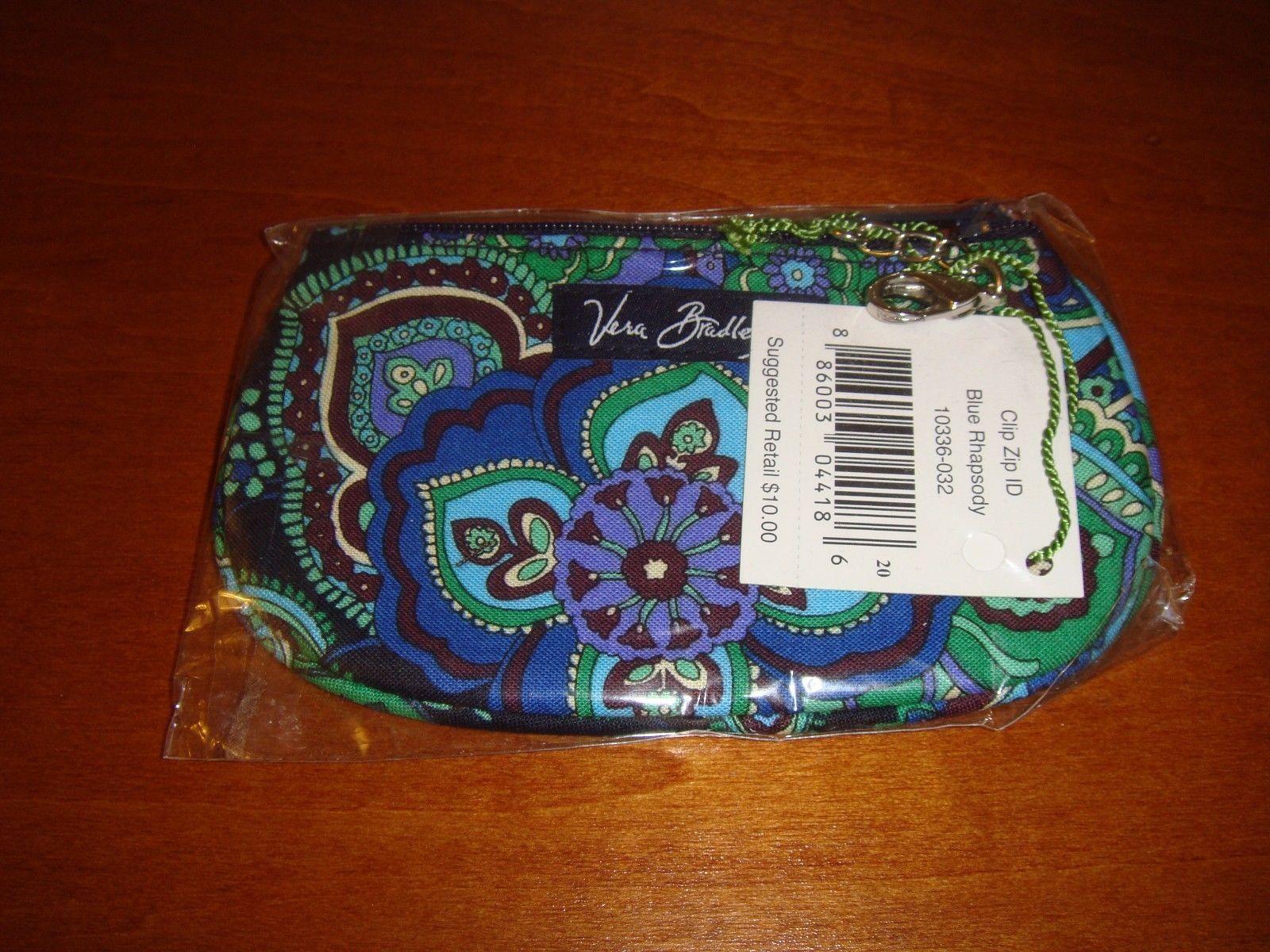 Vera Bradley Blue Rhapsody Clip Zip ID Case