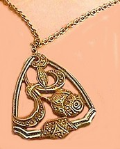 Necklace # 175 Link With Flower Pendent Old - $5.04