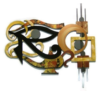"Primary image for Unique  Abstract ""Eye of Horus"" wall Sculpture Wood Mirror & Metal 38x37"