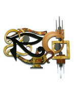 """Unique  Abstract """"Eye of Horus"""" wall Sculpture Wood Mirror & Metal 38x37 - $379.99"""
