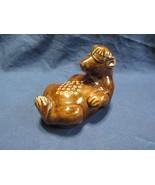 Vtg Art Pottery Floating Bear Flower Frog Brown Color Glaze Arranging Tool - $28.77