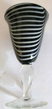 BLACK & WHITE SWIRL STYLE MURANO HANDBLOWN ART GLASS GOBLET DISPLAY - $70.00
