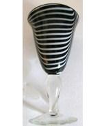 BLACK & WHITE SWIRL STYLE MURANO HANDBLOWN ART GLASS GOBLET DISPLAY - $70.00