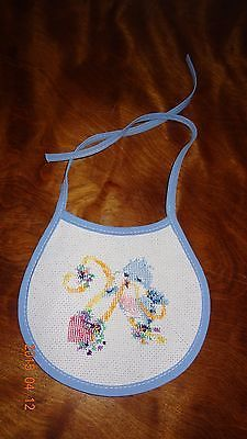 New Baby bib Blue Bird Ribbons Heart boy or girl Unisex Finished Cross Stitch