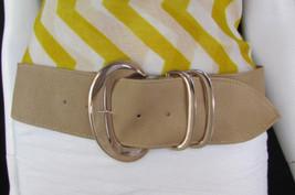 New Women Beige Faux Leather Fashion Belt Gold Metal Buckle Medium / L 3... - $15.67