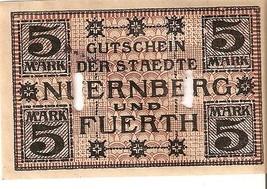 Germany Notgeld d. staedte Nuernberg u. Fuerth 5 Mark 1918 No.48780 seri... - $7.00