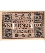 Germany Notgeld d. staedte Nuernberg u. Fuerth 5 Mark 1918 No.48780 seri... - $9.21 CAD