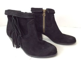 c00dfa508336db Sam Edelman Louie Fringe Bootie Black Genuine Suede Fold Over Ankle Boots  SZ 6 -  65.13