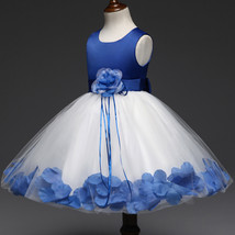 Lovely Royal Blue Wedding Flower Girl Dresses O-Neck Birthday Party Gowns Formal image 3