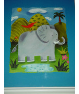 "Sophie""s Jungle  Elephant Print In 11x13 In Frame 1in Series of 4 - $18.00"