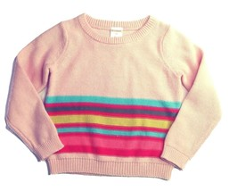 Gymboree Girls Sweater 2T Pink Multi-color Stripes Pullover Crew Toddler... - $24.14