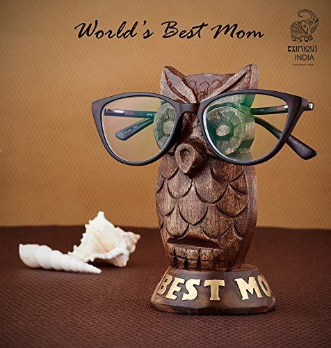 Eximious India Wooden Owl Eyeglass Spectacle Holder Handmade Stand for Office De