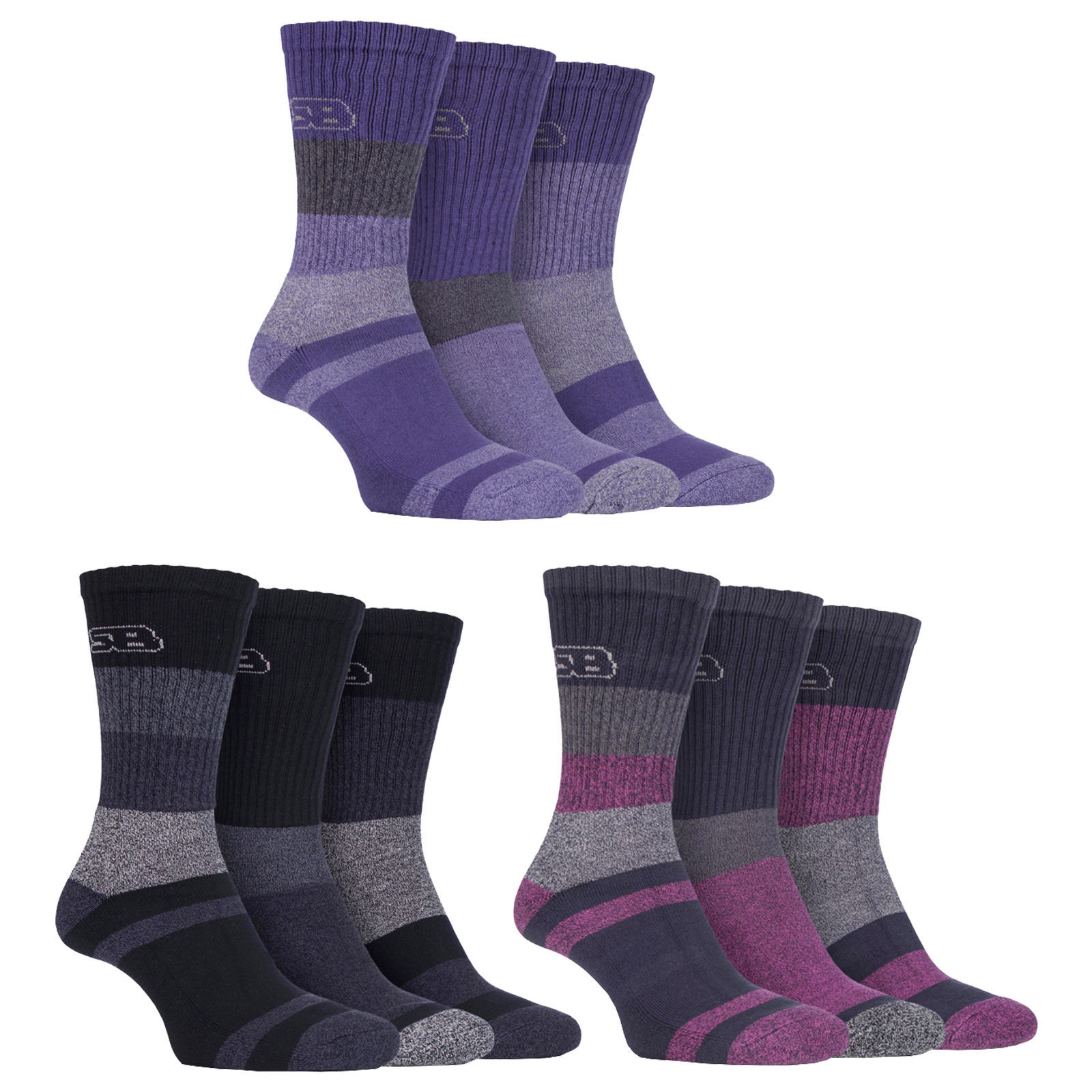 Storm Bloc - 3 Pack Ladies Striped Anti Blister Cotton Lightweight Walking Socks