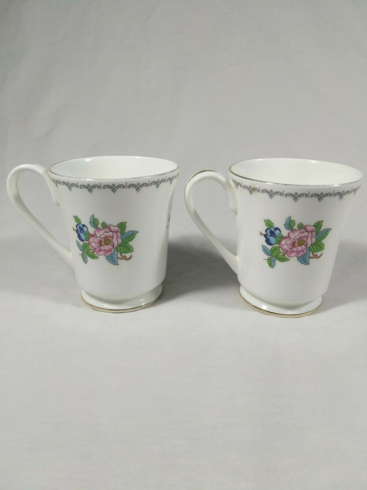 Aynsley Pembroke Tea Cups Fine English Bone China Birds Floral Set of 2 Mugs image 5