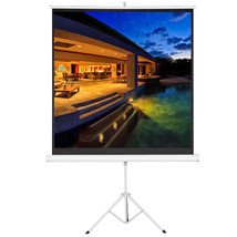 "70"" 1:1 Tripod Projector Screen Multi Aspect Ratio Pull Up with Stand Sc... - $49.99"