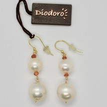 Yellow Gold Earrings 18K 750 Pearls Freshwater Quartz Citrine Made in Italy image 2
