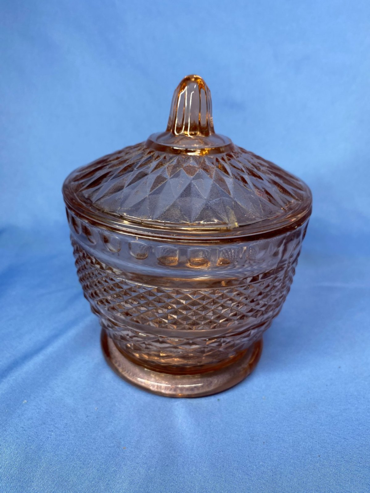 Primary image for Vintage Pink Crystal Sugar Bowl With Acorn Stem Lid Diamond Shape Cut Pattern