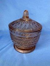 Vintage Pink Crystal Sugar Bowl With Acorn Stem Lid Diamond Shape Cut Pattern - $14.99