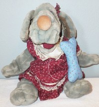 "16"" Ganz Wrinkles 1981 Hand Puppet Vintage Bone Clothes Tags Plush Girl Gray Toy - $28.05"