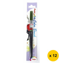 Pentel Arts XGFL-115 Refillable Fude Color Brush Pen (12pcs)-Olive Green - $55.13