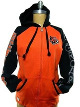 Women Reebok Cincinnati Bengals McGroarty Full Zip Bedazzled Hooded Sweatshirt M - $45.49