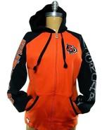 Women Reebok Cincinnati Bengals McGroarty Full Zip Bedazzled Hooded Swea... - $45.49