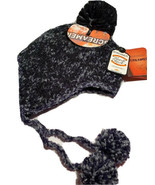 Screamer Black & Gray Ear Flaps Hand Knit Hat Beanie Ski Snowboarding Wi... - $15.14