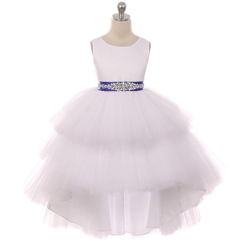 White Satin Bodice Hi-Low Layers Tulle Skirt Rhinestone Burgundy Sash Girl Dress