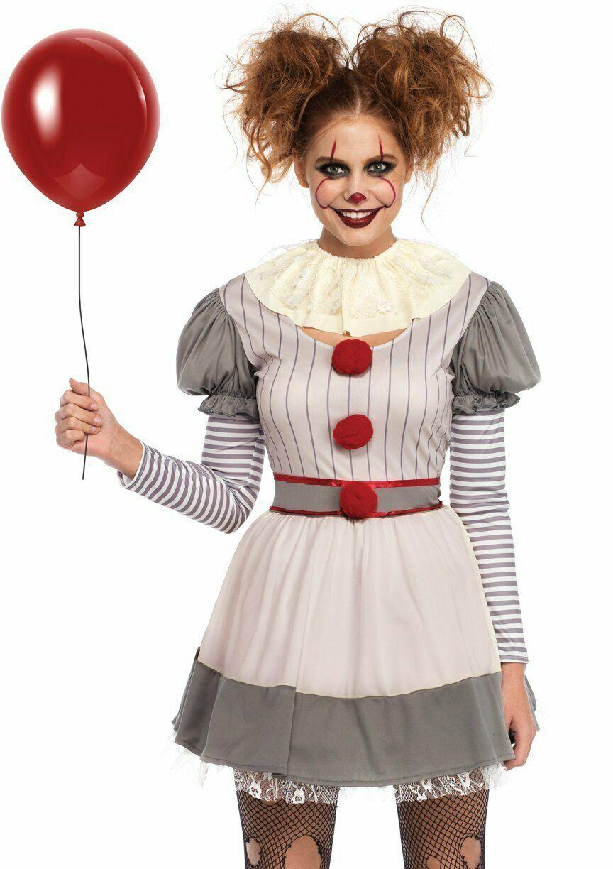 Leg Avenue Gruselig Clown es Pennywise Kleid Erwachsene Damen Halloween Kostüm