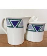 Set Of Vtg Mikasa Studio Nova Vista JJP01 Blue Green Triangle Creamer + ... - $29.59
