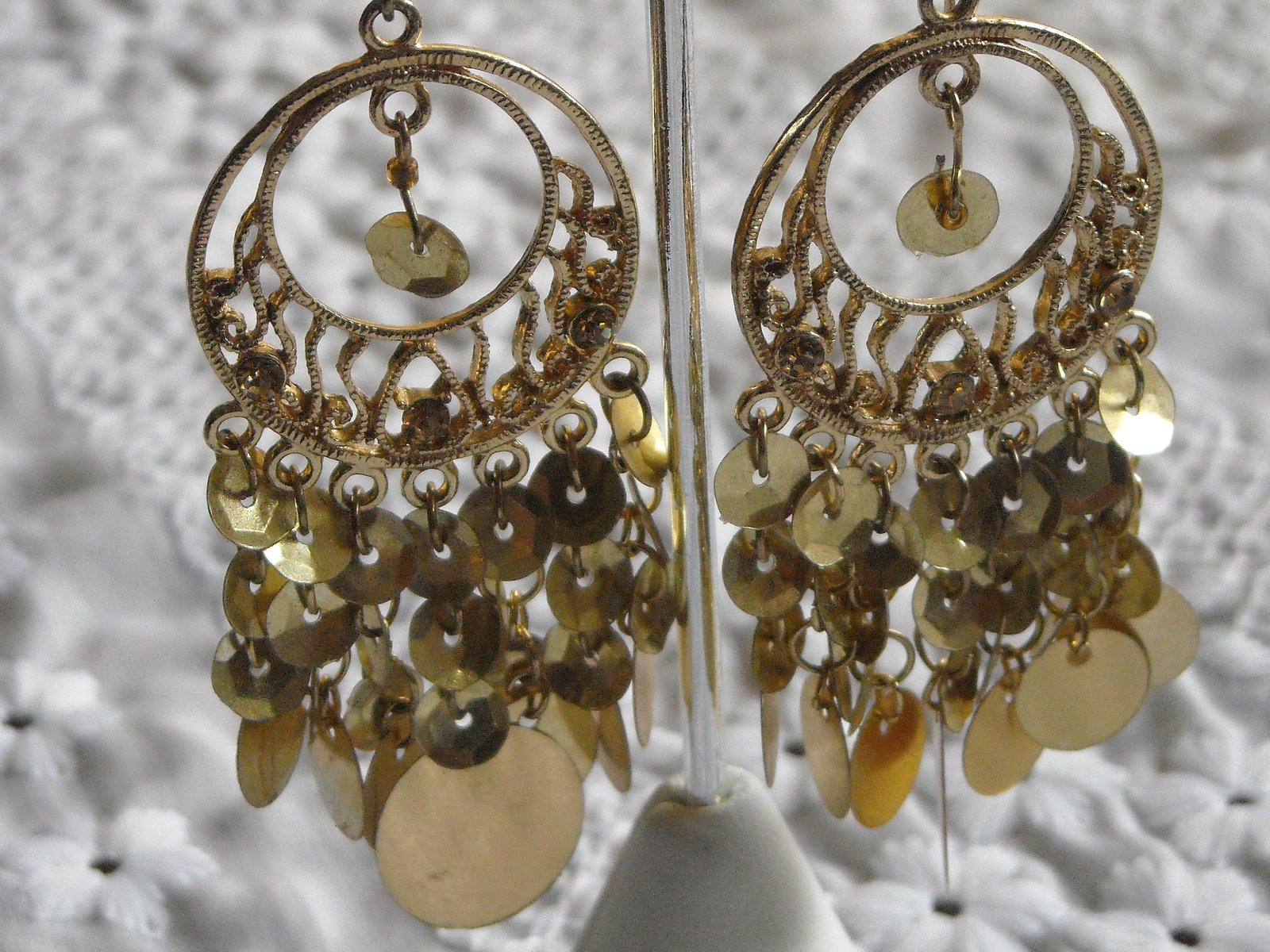 Vintage Earrings Chandelire Hook Gold Tone Filigree With Gold Sequins Chacha  image 3
