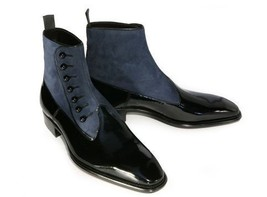 Handmade Men's Black Leather and Gray Suede High Ankle Buttons Boots image 4