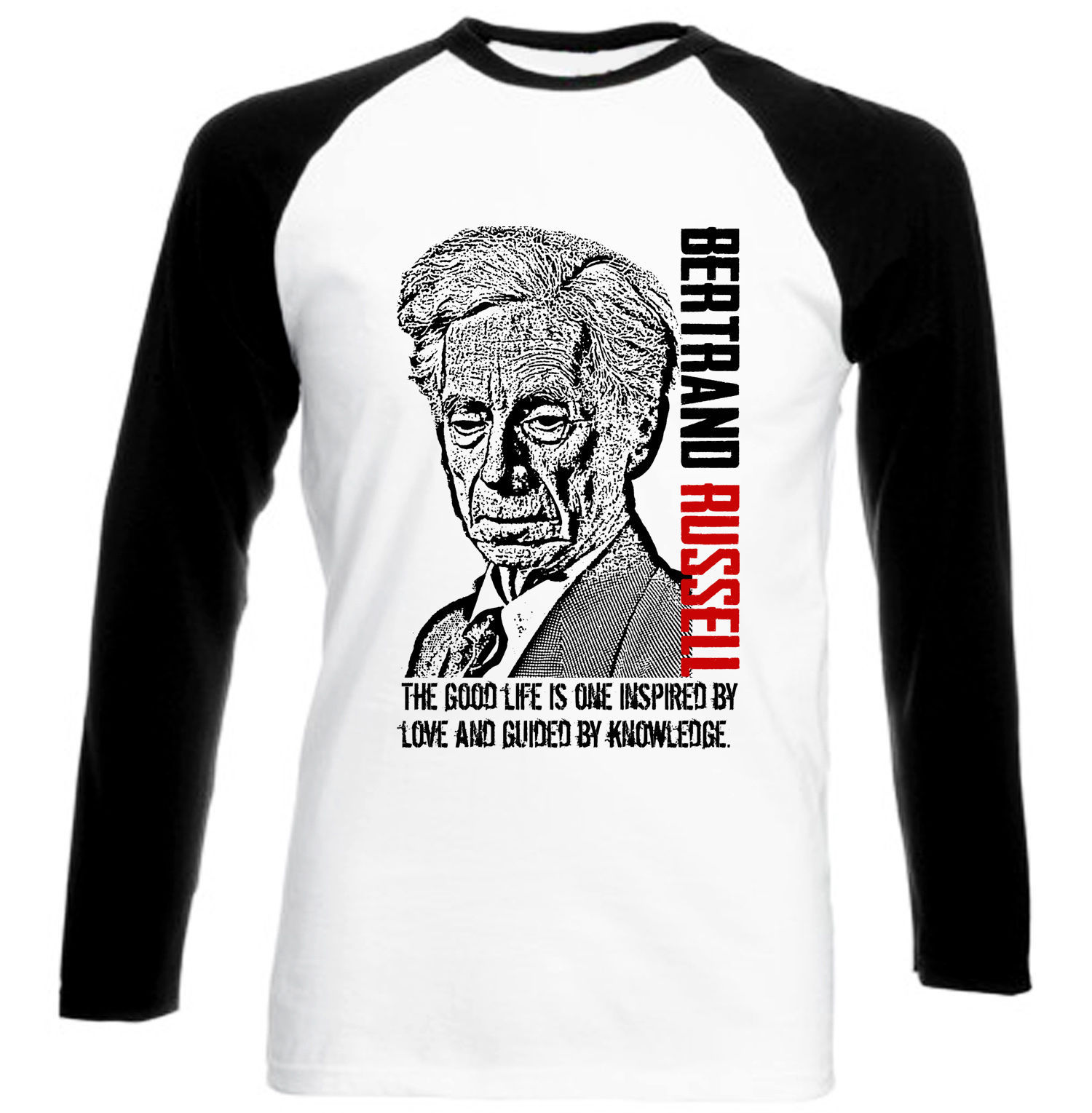 BERTRAND RUSSELL - COTTON BLACK SLEEVED TSHIRT- ALL SIZES IN STOCK