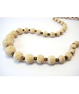 Vintage Hand Carved Celluloid Flower Beads Necklace N012 - $27.00