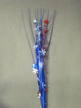 "12 Pcs Stars 21"" Onion Grass Spray Metallic Pick Decoration - red white and blue - $14.80"