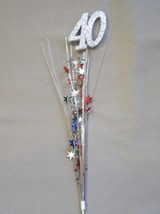 3 Pcs 40th Birthday Anniversary Multi Color Onion Grass Spray Metallic Pick - $7.91