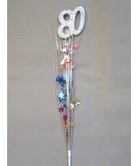 3 Pcs 80th Birthday Anniversary Multi Color Onion Grass Spray Metallic Pick - $7.91