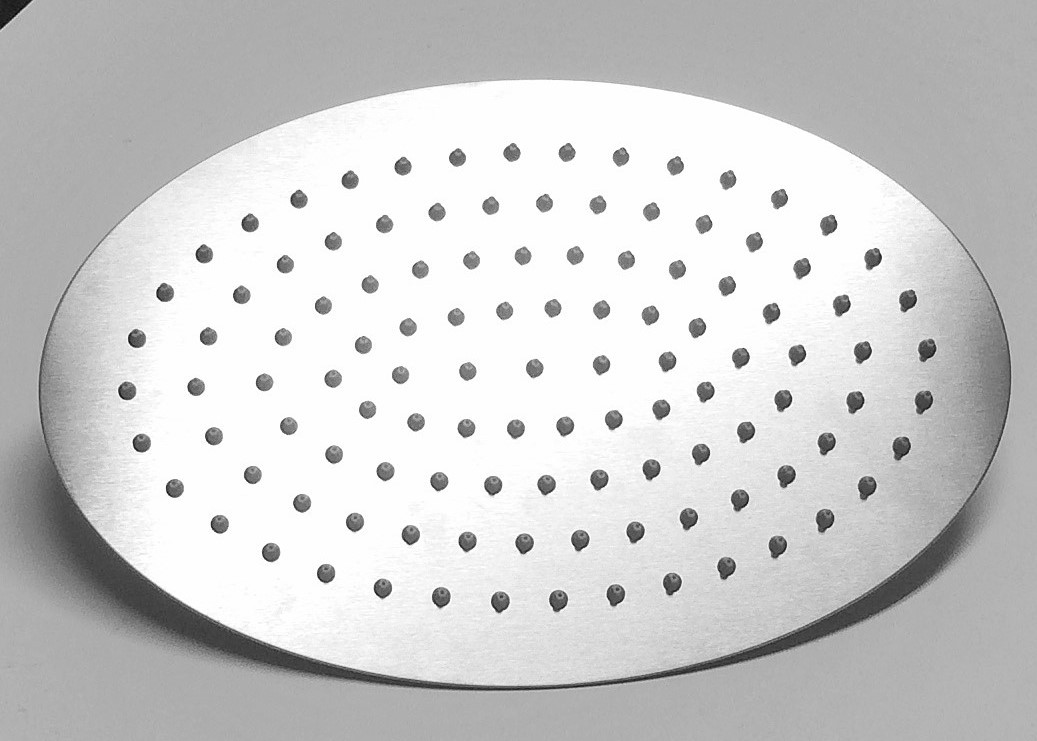"Primary image for Ultra-thin Oval Stainless Steel Rainfall Shower Head 8"" x 12"" Satin Nickel"
