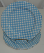 Three Linda Ironstone Blue and White Gingham Plates   - $19.95