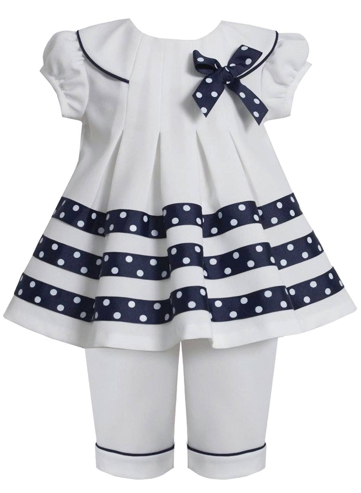 Bonnie Jean Baby Girl 3M-24M White Blue Dotted Ribbon Nautical Resort Top/capri