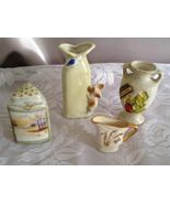 Miniature Cream Lot of 3 Ceramic Vases and Sha... - $10.00